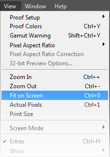 PhotoShop Fit on Screen menu