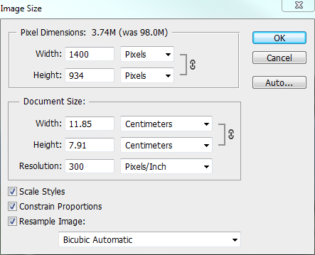PhotoShop Landscape resize dialogue box