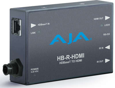 AJA HB-R-HDMI 1:1 HDBaseT HDMI / IR / RS-232 over Twisted Pair Receiver product image
