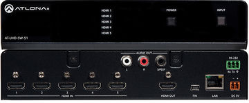 Atlona AT-UHD-SW-51 5:1 4K/UHD HDMI automatic switcher with ARC product image