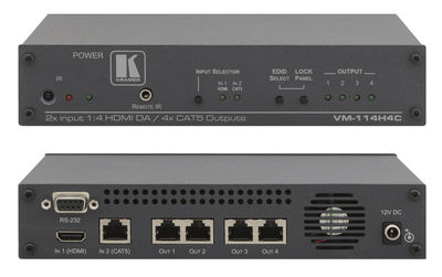 Kramer VM-114H4C 2x1:4 HDMI / DGKat Switcher and Distribution Amplifier product image