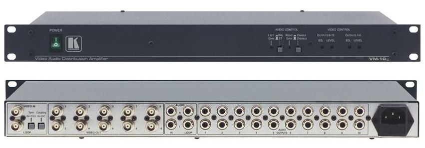 kramer vm 10xl 1 10 video audio distribution amplifier for1 10 video audio distribution amplifier for composite or sdi 1 bnc input rca for audio, 10 bnc outputs rca for audio