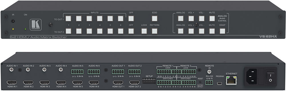 6x2 4K HDMI Matrix Switcher With Stereo Audio Switching 6 X Inputs 2 Outputs