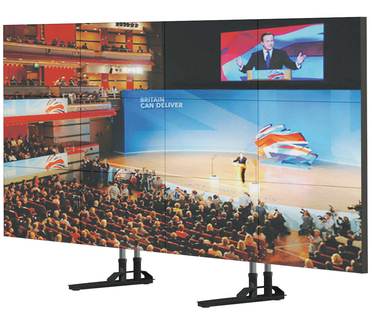 "Unicol SIM4 Simplex 4x3 Video wall floor stand for screens around 55"" product image"